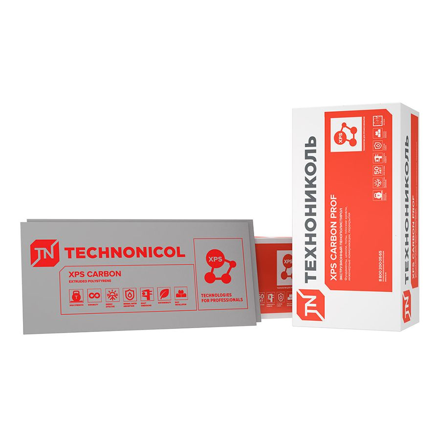 ТЕХНО XPS CARBON PROF 400 Экструд. пенополистирол, 0,58х1,18 м, толщ. 100 мм, (упак. 0,274 куб.м)