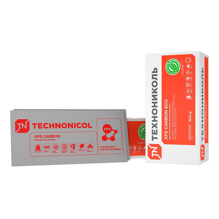 ТЕХНО XPS CARBON ECO 400 SP Экструд. пенополистирол, 0,58х2,36 м, толщ. 100 мм, (упак. 0,548 куб.м)